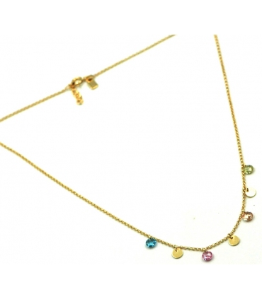 Gold Plated Silver Discs Necklace with Colour Stones