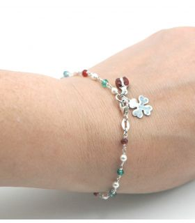Silver Bracelet with Pearl and Crystal Beads