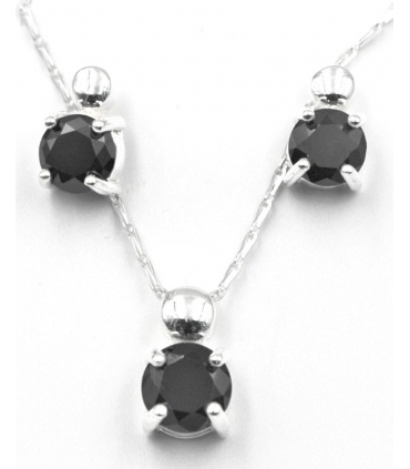 Silver Set with Black Zirconia Stones