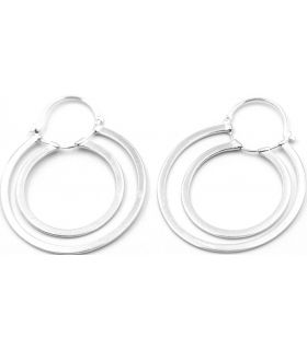 Dangling Twin Hoop Silver Earrings