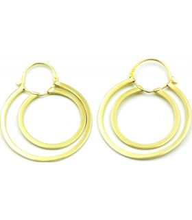 Twin Hoop Gold Plated Silver Earrings