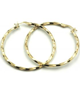 Yellow Gold Thin Twist Hoop Earrings