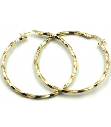 Thin Twist Hoop Earrings in Yellow Gold