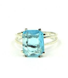 Silver Ring with Square Turquoise Blue Stone