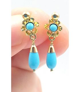 Turquoise & Gold Earrings for Girls