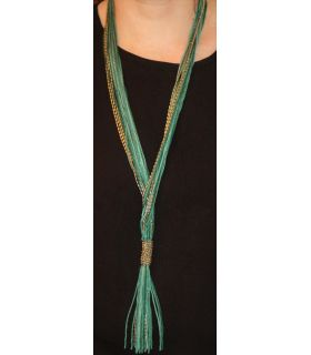Long necklace made of cotton ribbon thread