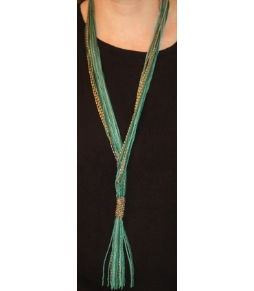 Long necklace made of soft ribbon thread