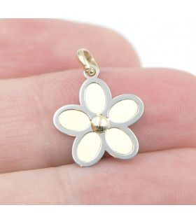 Yellow White Gold Flower Pendant