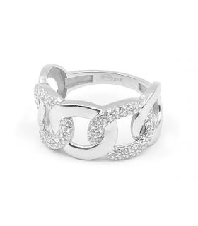 Chain Link 18K White Gold Ring