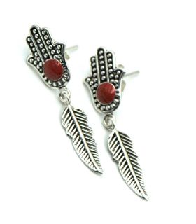 Fatima Hand (Hansa) and Feather Silver Earrings