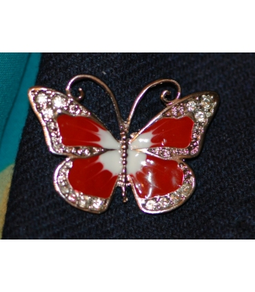 Red butterfly brooch with rhinestones