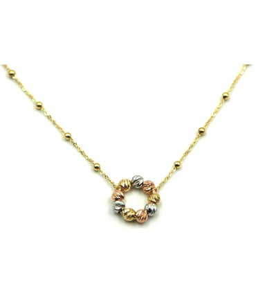 Three Colour Gold Circle Necklace