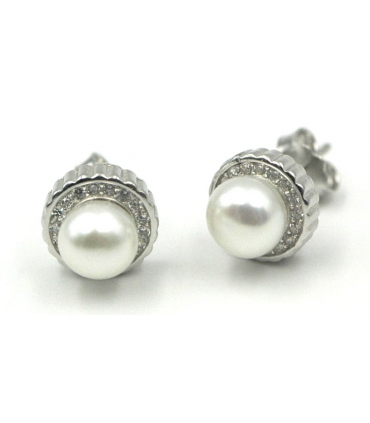 Pearl Stud Silver Earrings