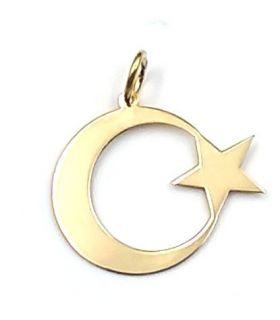 Crescent Moon with Star 18K Gold Pendant