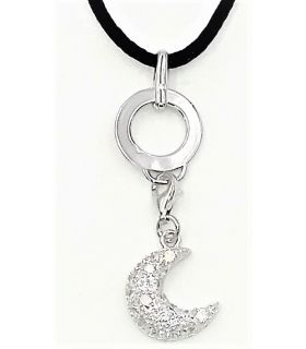 Silver Charm Holder Necklace with Crescent Moon