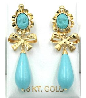 Turquoise and Yellow Gold Drop Earrings