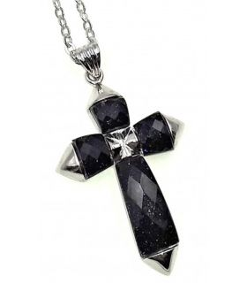 Goldstone and Silver Crucifix Pendant