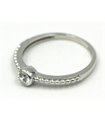 Solitaire White Gold Ring with Round Stud