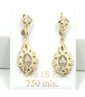 Old Style 18K Yellow Gold Drop Earrings