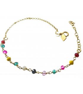 Gold Plated Silver Bracelet with Colour Beads