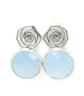 Silver Earrings with Natural Blue Stone
