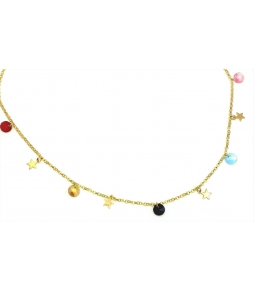 Silver Dangling Stars with Multi Colour Discs Necklace