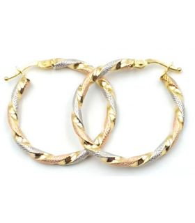 Tri-Colour 18K Gold Twist Hoop Earrings