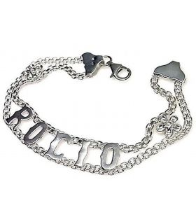 Silver Name Bracelet with Zirconias