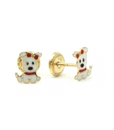 18k Gold Puppy Stud Earring for Girls