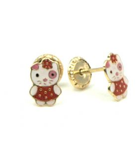 Hello Kitty 18K Yellow Gold Earrings