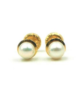 Small Pearl Stud Earrings 18K Gold