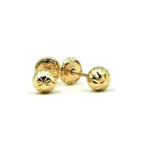 Carved Ball Stud Earrings for Young Girls 18K Yellow Gold