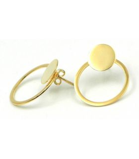 Removable Circle Silver Gold Plated Earrings