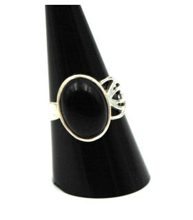 Onyx Silver Adjustable Ring