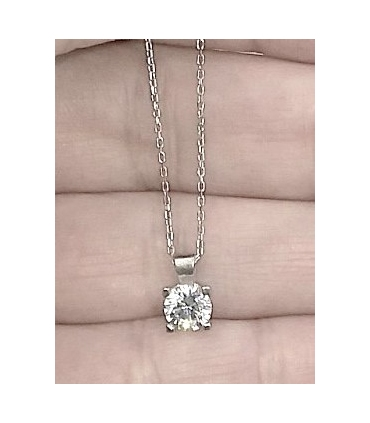 Small Zirconia White Gold Necklace