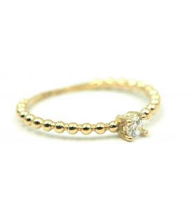 Solitaire Ring with Cubic Zirconia Yellow Gold