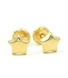 Star Yellow Gold Stud Earrings