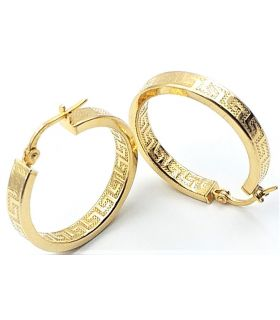 Greek Key Silver Hoop Earrings