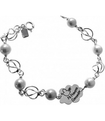First Communion Bracelet Pearls & Silver