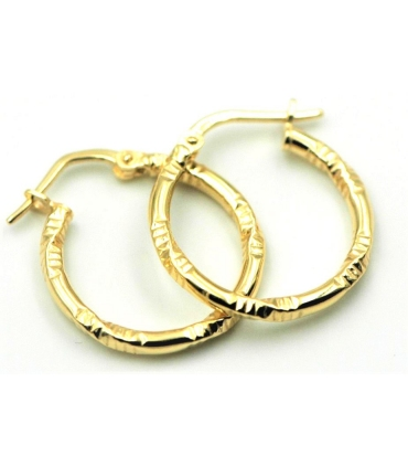Carved Hoop Earrings Gold Plated Silver