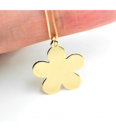 Yellow Gold Plain Flower Necklace