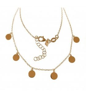Gold Plated Silver Dangling Discs Necklace
