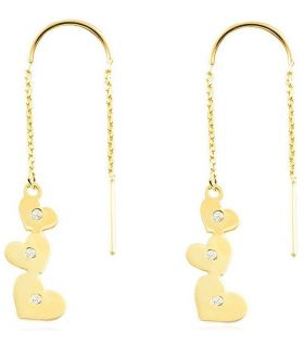 Double Chain Hearts 9K Gold Earrings