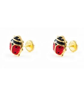 Ladybird Gold Earrings for Young Girls
