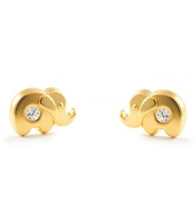 Gold Elephant Stud Earrings for Baby/ Young Girls