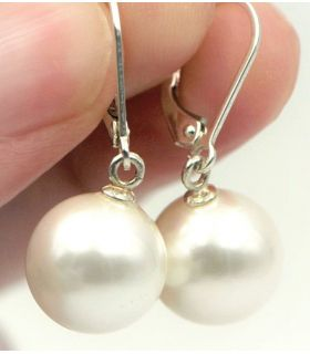 Drop Silver and Pearl Earrings