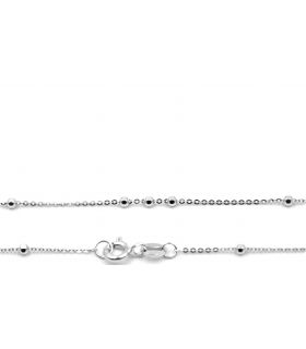 18K White Gold Chain with Beads