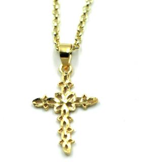 Open Work Gold Plated Silver Cross