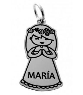Custom Silver First Communion Girl Pendant
