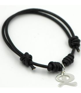 Leather Bracelet with Silver Idol